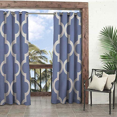 Linhomedecor Balcony Waterproof Curtains Simple White Blue Geometric Prismatic 9 pergola Grommets Print Curtain 72 by 108 inch