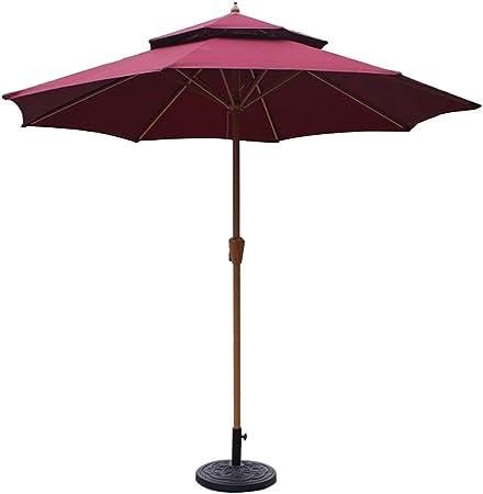 Sombrillas Ø 9 Pies / 270cm Doble Top Jardín Patio del Paraguas del Parasol con Manivela, Parasol Protección Impermeable para La Terraza, Balcón, Piscina, Playa (Color : Wine Red): Amazon.es: Hogar