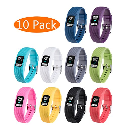 KingAcc Garmin Vivofit 4 Bands, Silicone Replacement Band for Garmin Vivofit 4, with Secure Metal Watch Clasp Buckle Wristband Strap Women Men (10-Pack, 10 Colors, Small)