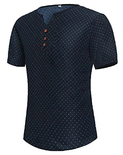 Wanshiyishe mens v neck polka dot short sleeve henley for Mens polka dot shirt short sleeve