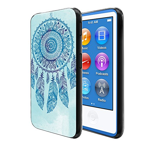 FINCIBO Case Compatible with Apple iPod Nano 7 (7th Generation), Flexible TPU Black Soft Gel Skin Protector Cover Case for iPod Nano 7 - Teal Blue Dream Catcher