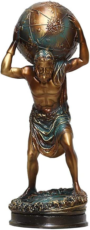 Ybzx Atlas Sculpture, Hercules Statue Model Resin Crafts Mythology Greek Art Classic Collection Retro Gifts