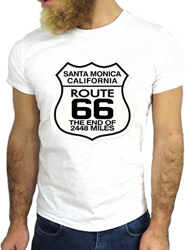 T-SHIRT JODE GGG24 Z1238 SANTA MONICA ROUTE 66 COOL US AMERICA LOS ANGELES CALIFORNIA BIANCA - WHITE M