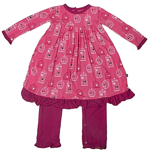 KicKee Pants Baby Girls Dress Romper (18-24 Months, Winter Rose Birdcage)
