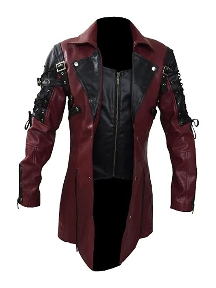 Mens REAL Black and Red Leather Goth Matrix Trench Coat Steampunk Gothic - T18 L_T18_BLK_RED