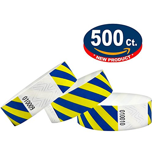 Tyvek Wristbands - Striped - 500 Pack - Neon Blue + Yellow - 3/4'' Tyvek Wristbands for Events … by Eventitems (Image #1)