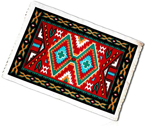 White, Red, Teal Rectangle Southwestern Striped Native American Geometric Double Diamond Pixilated Fringed Shapes Blanket Table Placemats Made of 100% cotton [Set of 4] + ()