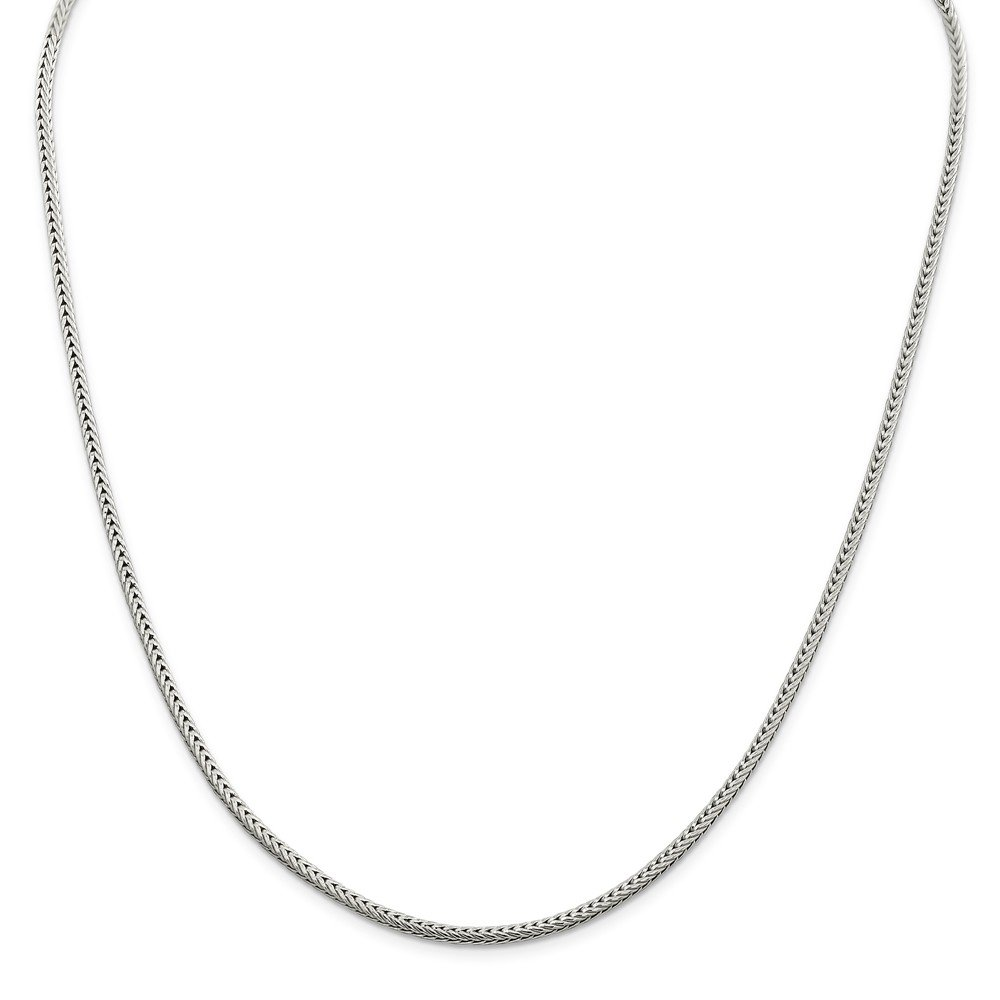 with Secure Lobster Lock Clasp Solid 925 Sterling Silver 2.5mm Diamond-Cut Round Franco Chain Necklace