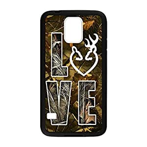 Browning Deer Camo for Samsung Galaxy S5 Case Cover 036786 Rubber Sides Shockproof Protection with Laser Technology Printing Matte Result