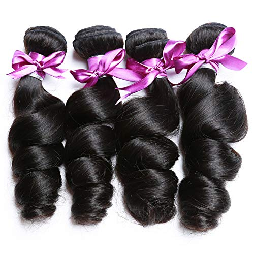 (Brazilian Loose Wave Bundles Natural Black 1B Hair Weave Extensions 100% Human Hair Bundles Remy Hair 1/3/4pcs/Lot,20 20 22 22,Natural Color)