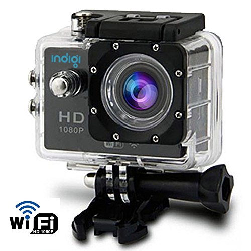 Indigi WiFi Sports Camera Action Cam WiFi iPhone Remote 1080p HD Recording Waterproof Case Underwater up to 30m