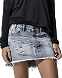 Pxmoda Womens Classic Tassel Ripped Denim Skirt Sexy Distressed Mini Skirt