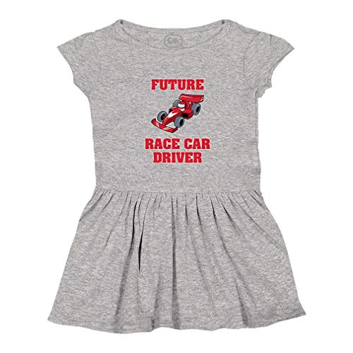 (Future Race Car Driver Short Sleeve Taped Neck Girl Cotton Toddler Rib Dress School Clothes - Oxford Gray, 2T)