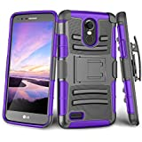 LG Stylo 3/ LG Stylo 3 Plus Case, TILL [Knight Armor] Heavy Duty Full-body Rugged Holster Resilient Armor Case [Belt Swivel Clip][Kickstand] Combo Cover Shell For LG Stylus 3 All Carriers [Purple]