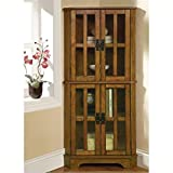 corner cabinets dining room - Coaster Home Furnishings Contemporary Curio Cabinet, Warm Brown