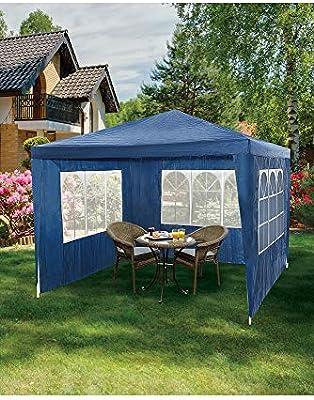 URBANESSENTIALS - Cenador con Paredes Laterales (3 x 3 m), Color Azul: Amazon.es: Jardín