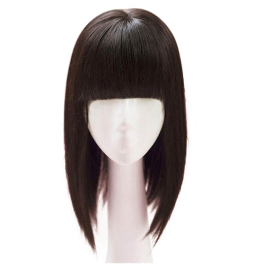 Kunsthaar von Remeehi, 35cm, nahtloser Haarersatz, Mono-Toupet für Haarausfall, Clip in Haar, Topper mit flachem Pony Kunsthaar von Remeehi 35cm