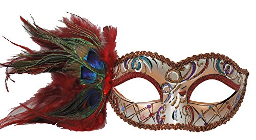 RedSkyTrader Womens Party Mask with Peacock Feathers One Size Fits Most -