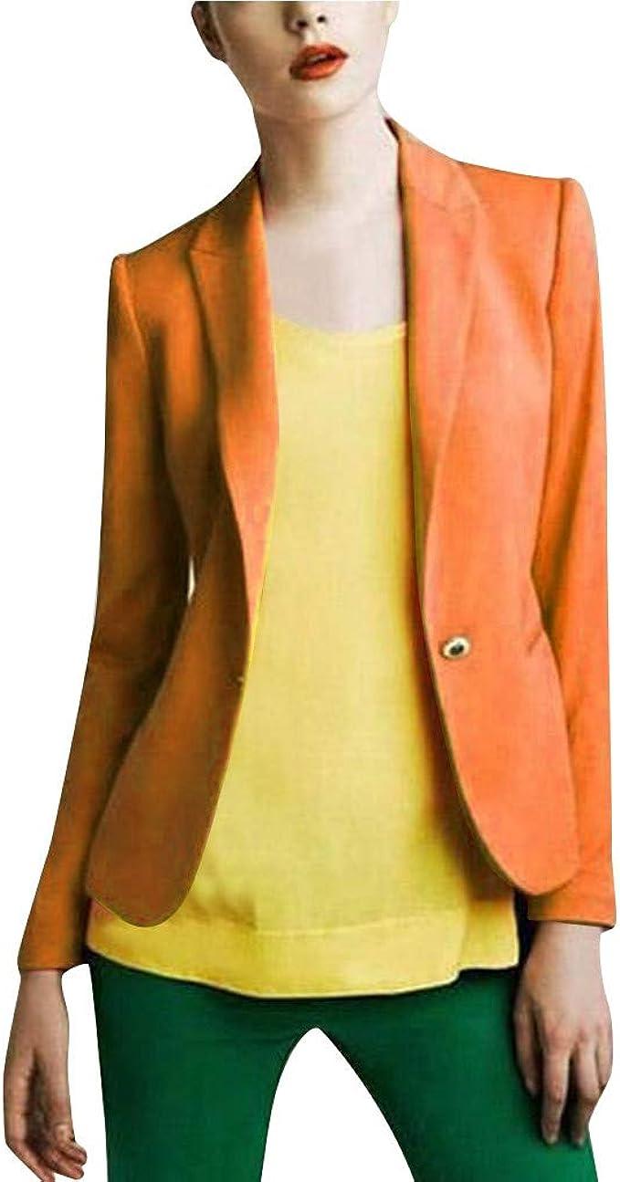 luoluoluo H Donna Blazer Casual Giacche Tinta Unita Cardigan Lunga Manica Risvolto Business vestibilit/à Slim Giacca Multicolore Opzionale M-2XL