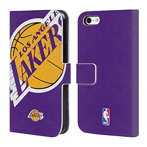 Official NBA Oversized Icon Los Angeles Lakers Leather Book Wallet Case Cover For Apple iPhone 5c