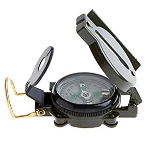 Souldio Military Lensatic Compass Professional Army Pocket Compass Metal Sighting Compass with Foldable Metal Lid for Camping Climbing Biking (Army Green)