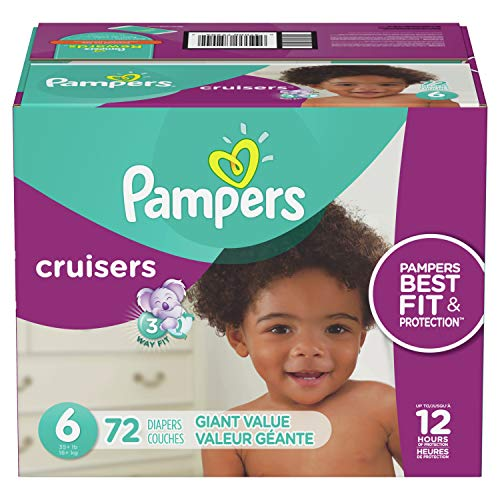 Diapers Size 6, 72 Count - Pampers Cruisers Disposable Baby Diapers, Giant (Packaging May Vary) ()