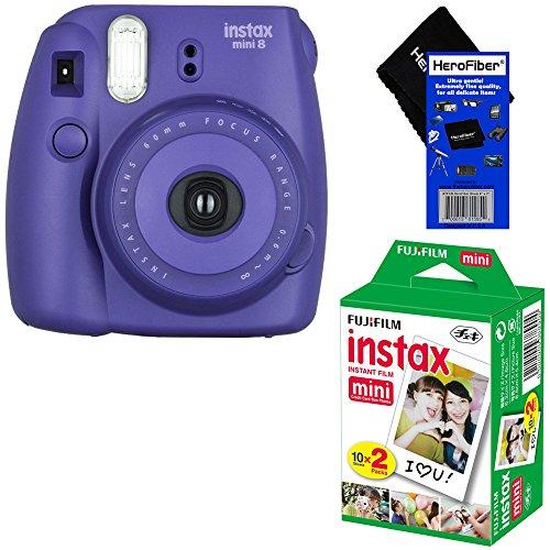Fujifilm Instax Mini 8 Instant Film Camera (Grape) + Fujifilm Instax Mini Instant Film (20 sheets) + HeroFiber Ultra Gentle Cleaning Cloth (Fujifilm Instax Mini8 Grape compare prices)