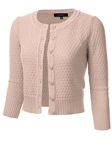 FLORIA Womens Button Down 3/4 Sleeve Crew Neck Cotton Knit Cropped Cardigan Sweater Blush S