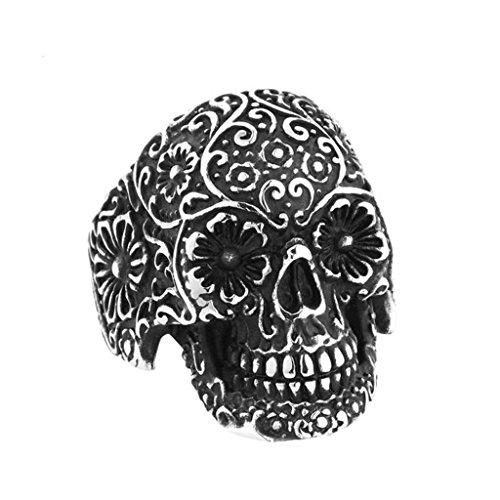 Bishilin Steel Vintage Flower Skull Rings Black Titanium Mens Rings 2016 Size 7 24k Gold Vermeil Flower