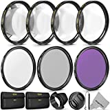 Vivitar 55mm Professional UV CPL FLD Lens Filter Set and Close-Up Macro Accessory Kit for Nikon D3400 with AF-P 18-55mm Lens and Sony Lenses with a 55mm Filter Size
