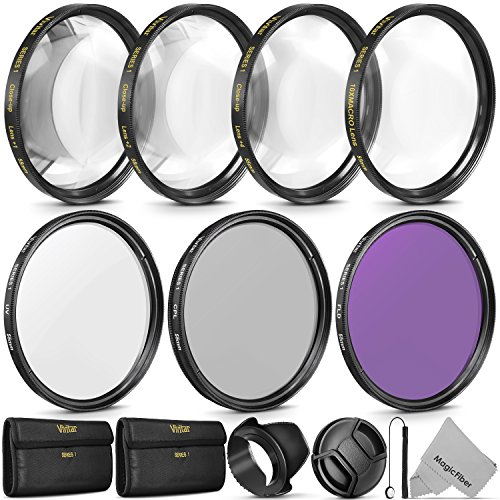 Vivitar 55mm Professional UV CPL FLD Lens Filter Set and Close-Up Macro Accessory Kit for Nikon D3400 with AF-P 18-55mm Lens and Sony Lenses with a 55mm Filter Size (Uv Filter For Nikon 55 300mm Lens)