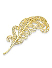 14k Filigree Feather Pin