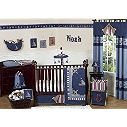 Nautical Nights Blue and White Sailboat Baby Boy Bedding 11pc Crib Set Without Bumper