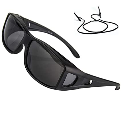 9b9e8f3188c Amazon.com  Polarized Rectangular Fit Over Glasses Sunglasses with Side  Shield Driving Lens Copper Wrap Protection Glasses All Black  Home  Improvement