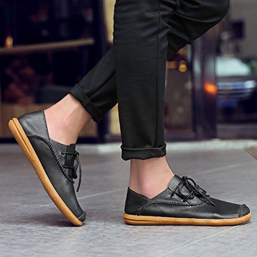 Heren Casual Rundleer Zachte Platte Schoenen Handwerk Cap-teen Lace-up Laag Uitgesneden Loafers Zwart
