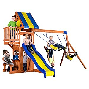 Backyard Discovery Peninsula All Cedar Wood Playset Swing Set