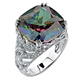 Palm Beach Jewelry Cushion-Cut Mystic Fire Topaz Cubic Zirconia Platinum-Plated Scroll Ring