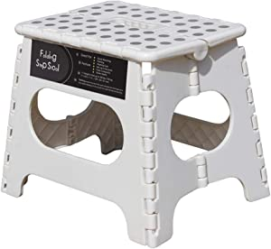 """Folding Step Stool -11"""" Height - Holds up 300 Lbs Lightweight Foldable Stepping Stool is Sturdy Enough to Support & Safe Enough for Adult. Skid Resistant and Open with one flip (White/Grey dots)"""