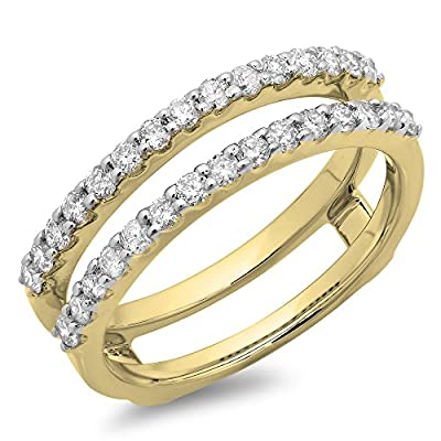 0.50 Carat (ctw) 14K Gold Round Diamond Ladies Anniversary Wedding Band Enhancer Guard Double Ring 1/2 CT