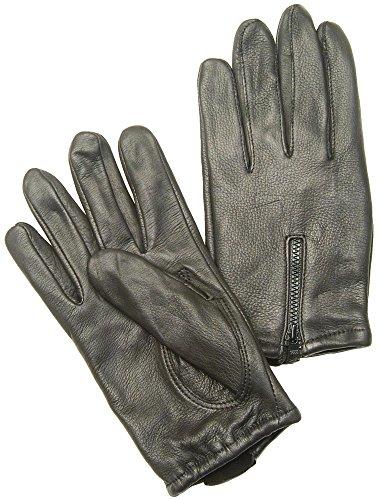 (Napa Deerskin Zipper Backed Gloves with Cotton Fleece Lining (Black, Large))
