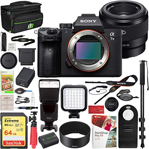 Sony a7III Full Frame Mirrorless Interchangeable Lens Camera Body Bundle with FE 50mm F1.8 Full-Frame Prime E-Mount Lens, Flash, 64GB Memory Card, Paintshop Pro 2018, and Accessories (5 Items)