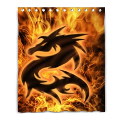 Burning Fire Dragon picture Blackout Window Curtain Polyeste
