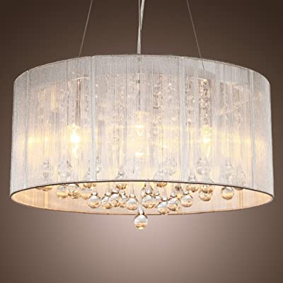 LightInTheBox Modern Silver Crystal Pendant Light in Cylinder Shade