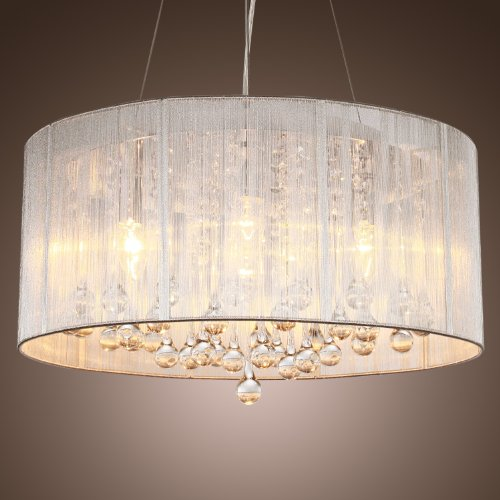 LightInTheBox Modern Silver Crystal Pendant Light in Cylinder Shade, Drum Style Home Ceiling Light Fixture Flush Mount, Pendant Light Chandeliers Lighting for Bedroom, Living Room