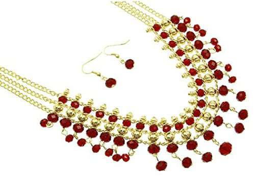 Lucite Beads Drop - V G S Eternity Fashions Jewelry ~Red Lucite Beads Drop Multi Layers Goldtone Necklace and Earrings Jewelry Set (BNE 2146 RED)