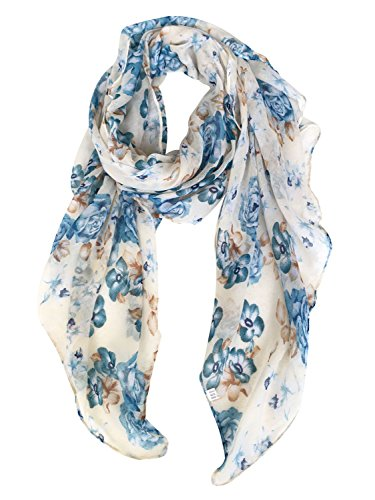 GERINLY Scarves for Women Florals Print Long Head Wraps Summer Thin Scarf (Beige)