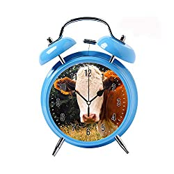 ZEREO 5 Colors Child Portable Cute Round Battery Alarm Clock Desktop Table Bedside Clocks Decor Blue Alarm Clock Gift Brown and White Cow