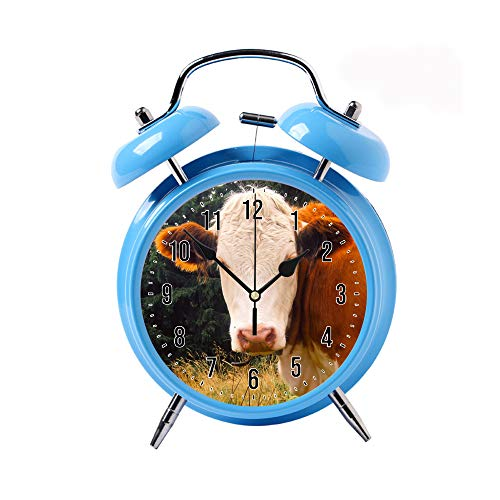 ZEREO 5 Colors Child Portable Cute Round Battery Alarm Clock Desktop Table Bedside Clocks Decor Blue Alarm Clock Gift Brown and White Cow (Kids Alarm Clock Cow)