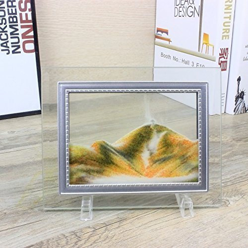 CooCu Dynamic Moving Sand Picture,Sand Art,Sandscapes Art In Motion,Desktop Art Toys,Best Gift to your friend with Gift Card(Orange) (S) ()