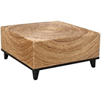 Crafted Home Decorative Elkton Natural Square Coffee Table, 35.5 Length by 35.5 Width by 18.5 Height, Tan